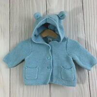 Baby Gap Light Blue Knit Bear Ear Hooded Cardigan Sweater. 0-3M