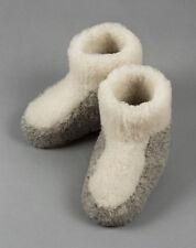 Size 3 (36 EU) NATURAL STRIPE WOMENS WOOL BOOTS WARM WHITE SLIPPERS SHEEP