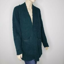 Free People Once In a Lifetime Long Wool Cardigan Womens Medium Oversized Green