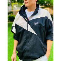 Vtg 90s Reebok Nylon Windbreaker Jacket, Vector Logo, Full Zip, Hidden Hood, XL