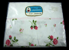 Springmaid Luxury Muslin Full & Queen Vintage Flat Sheet Embroidered Rose 81x108