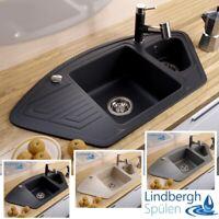 "LINDBERGH® Granit Spüle ""ANG"" + Siphon Einbauspüle Küchenspüle Eckspüle"