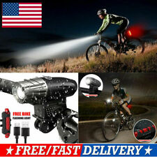 Rechargeable LED Bike Bicycle Light USB Cycle Front Back Headlight Waterproof US
