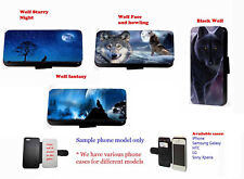 Wolf night moon sky faux leather wallet phone case for Samsung Iphone