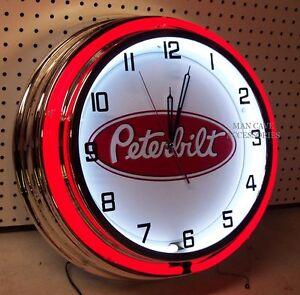 """19"""" Peterbilt Sign Double Neon Clock Tractor Trailer Semi Truck RED Neon"""