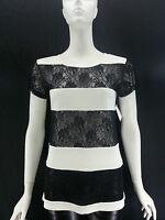 Neiman Marcus LITERATURE NOIR Ivory Black Lace Inset Short Sleeve Top Crew Neck