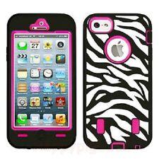 Zebra High-impact combo caucho duro-case funda bolsa para iPhone 5 5g, rosa