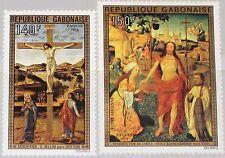 GABON GABUN 1975 554-55 C160-61 Easter Ostern Religion Paintings Gemälde Art MNH