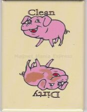 METAL DISHWASHER MAGNET Image Of Pink Pigs Clean Dirty Dishes MAGNET X