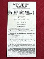 """1950 PARKER BROTHERS """"CLUE"""" vintage board game RULES OF PLAY instructions only"""