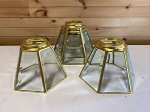 Lot Of 5 VTG Mission Style Light Fixture Beveled Glass Shades