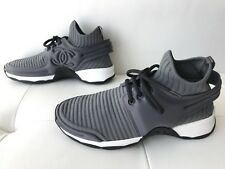 18P CHANEL GRAY STRETCH FABRIC LACE-UP SNEAKERS CC LOGO 36.5 GREY BLACK WHITE