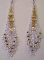 Seed Bead Earrings Native Inspired Gold & Silver Handmade In USA By Me 4.5