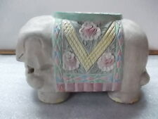 Hand Carved Hand Painted Pastels Elephant Statue Home Decor Plant Stand