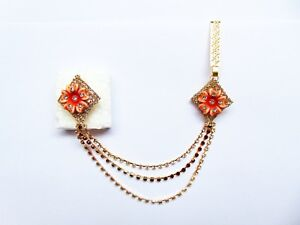 Indian Golden Side Waist Belt Hip Chain Sari Pin Brooch Party Fashion Jewelry