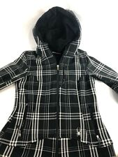 Women's Jacket Coat SPYDER Black and White Striped with Hood Faux Fur Lining XS