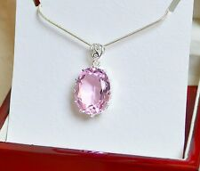 Large Size Faceted Light Pink KUNZITE Quartz OVAL Silver Pendant
