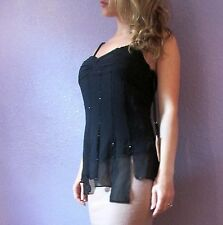 SUE WONG Black Beaded Silk Chiffon Top Dressy Nocturne 4 Small S GORGEOUS NWT