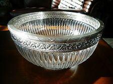 1880's BOIN TABURET Paris France Sterling Silver & Fine Cut Crystal Serving Bowl