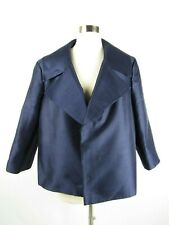 NWT Talbots Size 18 Navy Blue Silk Wool Shantung Wide Collar Open Front Jacket