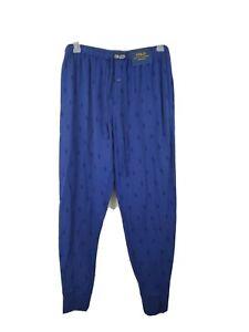 New Ralph Lauren Polo Men's Jogger Lounge Pant Sz L Blue pajama adjustable waist