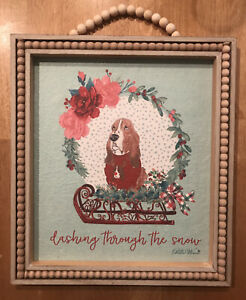 NEW The Pioneer Woman Charlie Basset Hound  Cheerful Rose Frame Wall Decor
