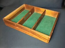 More details for original vintage 1960s traditional wood divided cutlery tray felt lined storage