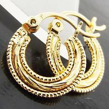 EARRINGS HOOPS GENUINE REAL 18K YELLOW G/F GOLD SOLID FILIGREE ANTIQUE DESIGN