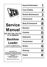 JCB 3CX 4CX 214E 214 215 217 & VARIANTS BACKHOE LOADER SERVICE MANUAL REPRINTED