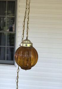 Vintage Amber Glass Hanging Swag Lamp Mid Century, Retro Ceiling Fixture Chain