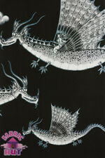 Alexander Henry Nicole's Prints in the Clouds Dragons Black 100% Cotton Fabric