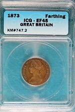 New listing 1873 Icg Ef45 Great Britain Farthing Km#747.2! #B6766