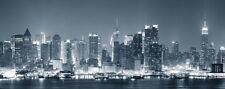 Wallario XXL Poster 80 x 200 cm - New York Skyline - Schwarz Weiß Blau New York