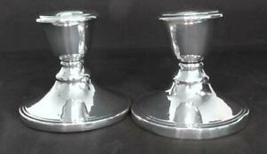 Pair of Silver Dwarf Candlesticks dates 1928
