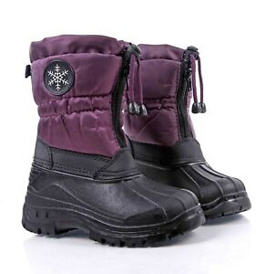Purple Water Resistant Round Front Zipper Closure Unisex Kids Winter Snow Boots
