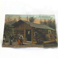 Antique Postcard - Early Days in Wisconsin - Color Lithograph - Native American