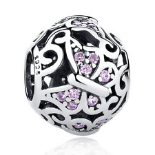 Exquiste SS Sterling Silver Vintage Pink Butterfly Charm Ball PY1294