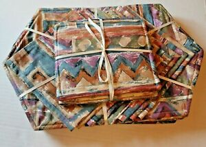 Handmade Set of 8 Fabric Placemats & Napkins with 3 Matching Hot Pads Geometric