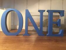 ONE, 3 Bright Blue Wooden Letters ONE, 13cm Large Letters, First Birthday, 1st