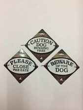 Cast Iron Sign -Beware of the Dog,Please Close the Gate,Caution Dog Running Free
