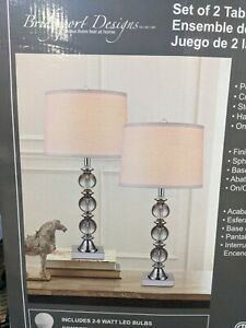 Set of 2 Bridgeport Designs Polished Chrome Finish Crystal Table Lamps 1x Bulb!