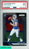 🏈🔥2018 PANINI PRIZM Josh Allen #205 ✧BUFFALO BILLS✧ ROOKIE RC PSA 9 MINT🔥🏈