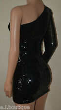 VICKY MARTIN sequin long sleeve one shoulder mini padded dress black BNWT 8 10