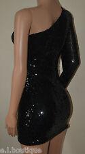 VICKY MARTIN sequin long sleeve one shoulder mini padded dress black BNWT 8 10