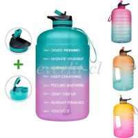 1 Gallon Motivational Water Bottle Workout Time Marker BPA Free Jug with Handle