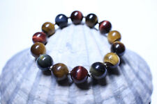 Natural Multicolored Tiger Eye Bracelet with Gold Plated Beads