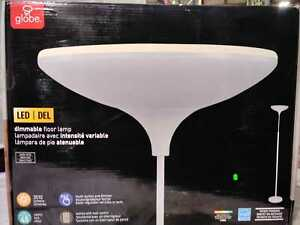"""71""""Satin White LED Floor Lamp Torchiere Dimmable w/Energy Star by Globe Electric"""