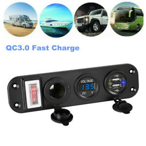 QC3.0 Auto Car Dual USB Fast Charge Cigarette Lighter Switch Panel w/ Voltmeter