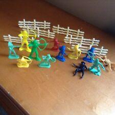 Vintage Cowboy Indians toy set 18 piece set plastic Western multi color antique