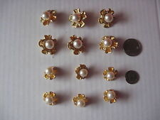 GOLD BUTTON W/PEARL & RHINESTONES 2 SETS OF 6